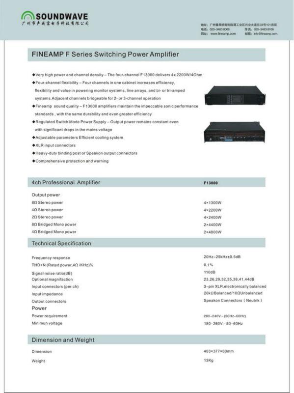 (F13000) switching high power pro amplifier/ karaoke dj mixer amplifier