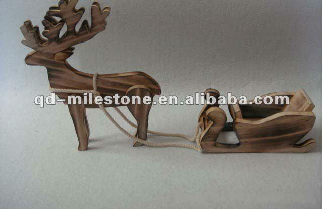 artesanía de navidad renos de madera tirando de trineo-Artesanías ...