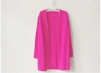 Женский кардиган European/American Spring/Autumn new Korean version of Slim waist - loose pearls side cardigan sweater women 1152