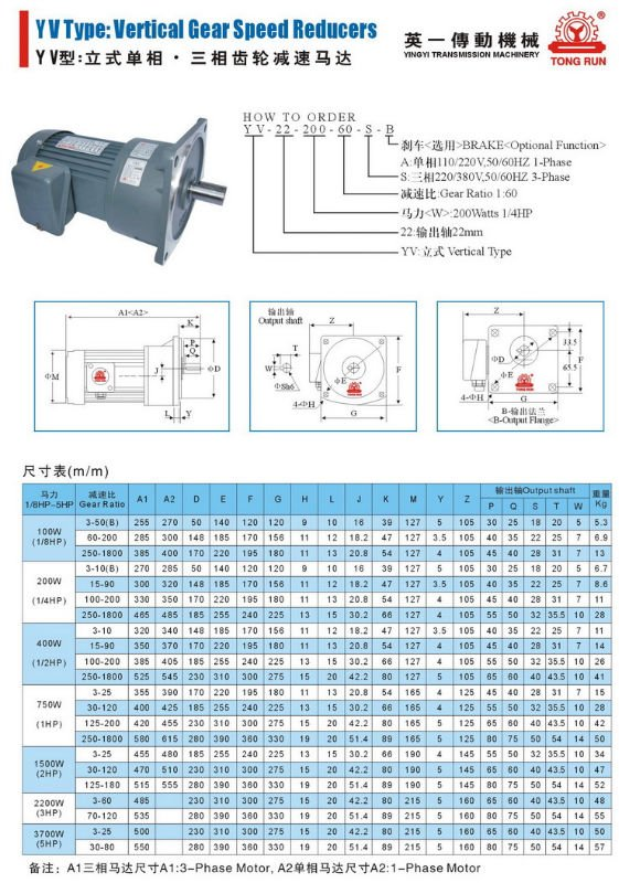 single phase & three phase AC helical gear motor 2 stage speed reducer