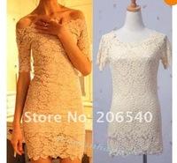 Вечернее платье brand new Sexy Women Elegant Lace Off Shoulder Short Sleeve Strapless Dress Club Dress