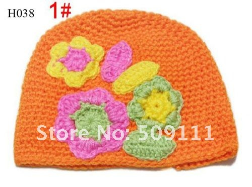 Free shipping Hand Crochet Baby Flower Hat Spring Knitted Girls' Flower Cap Handmade Baby Hat Kids Infant Beanie 20pcs HT01
