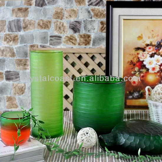 cilindro de bamb fresco corte pedestal verde helado floreros de cristal