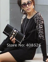 Футболка Free shopping Fashion Leopard Grain Decoration Round Brought Long Sleeve T-shirt 3330