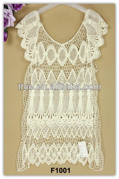 2013 cinta patrón de ganchillo ocasionales vestidos de encaje