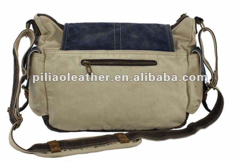 denim vintage washed canvas messenger bag with leather trim/canvas shoulder bag wholesale