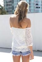 европейские и американские выдалбливают пряжи кружево блузки blusa слэш шеи кружева рубашки Топ три четверти