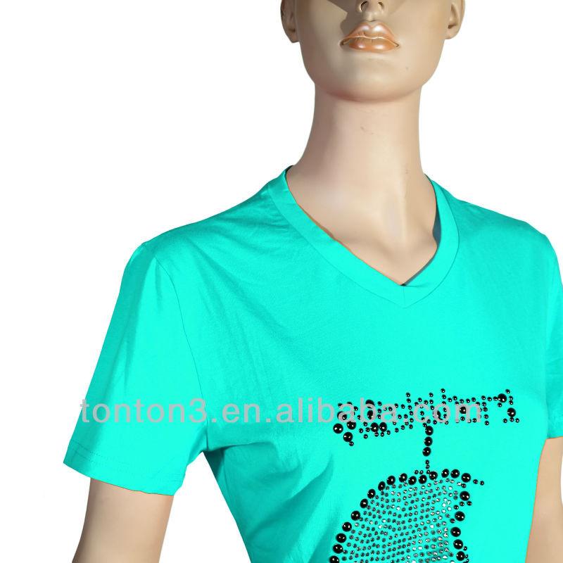 OEM Custom v neck t-shirt with 100% polyester