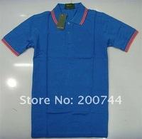 Мужская футболка 5 pcs/lot Men's short sleeve 6 colors Royal Blue with Red Stripe