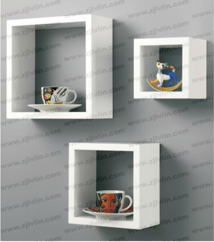 Lucido mensola di esposizione a parete, mdf cubo mensola a muro ...