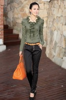 Женские блузки и Рубашки New s! 2013 hot summer Fashion trendy women blouse shirts Fashion style flower collar Puff Sleeve Shirt Y2421