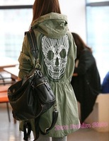 Женский тренч 2012 New Novelty Back Lace Skull Embroidered Women Hooded Trench Coat, Western Ladies Trendy Uniform Long Windbreaker Overcoat