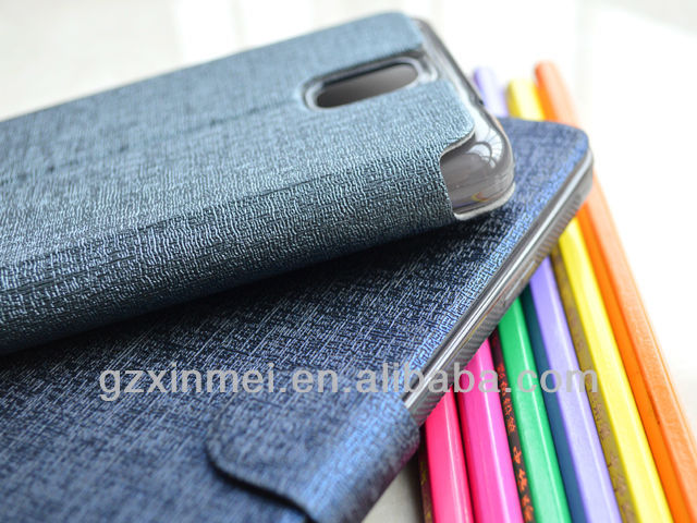 2014 card-slot leather wallet case for samsung galaxy note 3 case