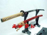 рука кованые красный японский бамбук Цуба Катана меч заостренный может вырезать татами