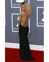 Платье знаменитостей Custom Made Backless Sleeveless sheath Sexy deep v neck Rihanna Celebrity Red Carpet Dress