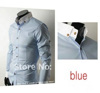 Мужская классическая рубашка 2013 Mens Slim fit Unique neckline stylish Dress long Sleeve Shirts Mens dress shirts