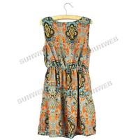 Женское платье Women's Cotton Totem Sleeveless Elastic Waist Short Mini Vest Bohemian Dress Orange 9743