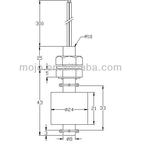 MJ-1043P electronic water flow sensor M10*43MM 10W 100V 0.5A