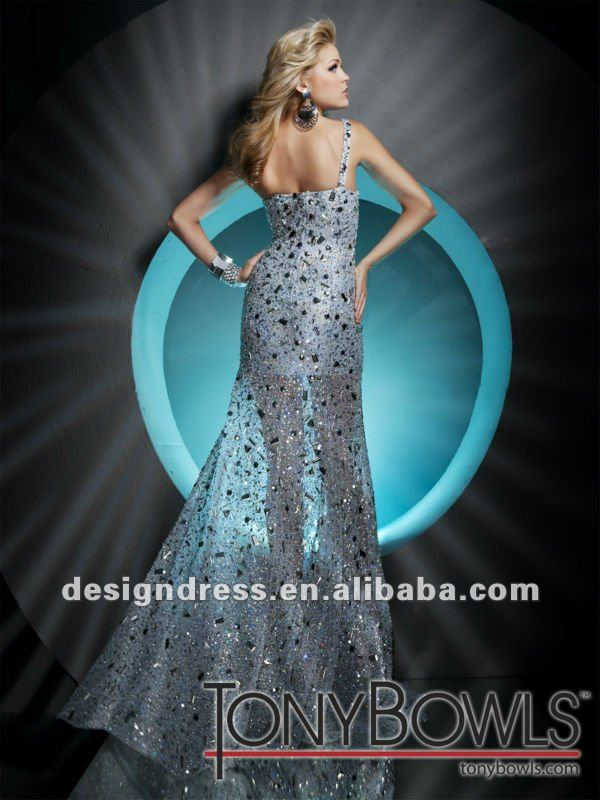2013 new arrival sexy one-shoulder beaded crystals tony bowls evening dress by designers F112C21