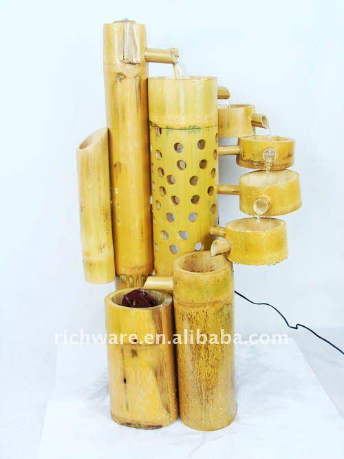 Fonte, Fonte De Bambu Artesanal, CX05348-Artesanato De Feng Shui-ID Do ~ Artesanato Em Bambu Para Jardim