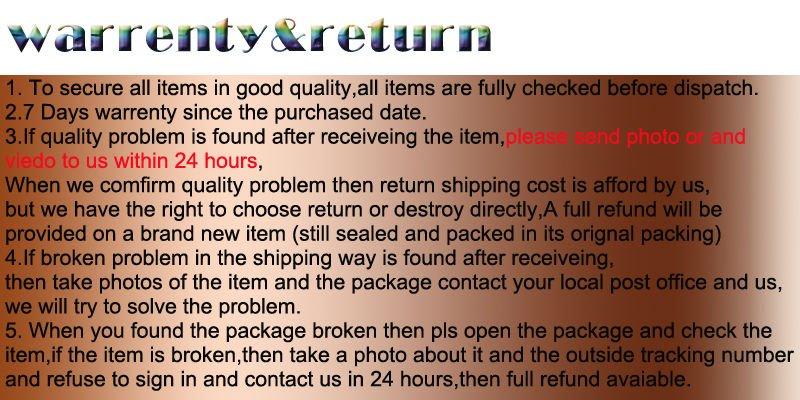 warrenty&return NEW