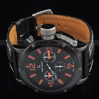 Наручные часы new design 6 Hands Men's Wrist Quartz Watch with Black Dial Belt