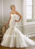 Свадебное платье Custom-made Hot Sale Mermaid Sweetheart Pleats Bodice Lace Organza Skirt Floor Length Court Train Wedding Dress Bridal Gown