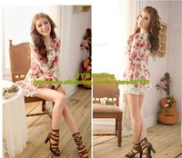 Женское платье Retail ] Fashion Black White Color Rose Flowers Printed Women's Lace