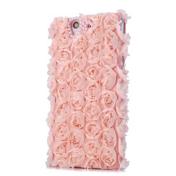 для sony z l36h случае новые моды кружева крышки уникальный розовый жемчуг цветок ручной работы горный хрусталь защитные оболочки для sony xperia z l36h