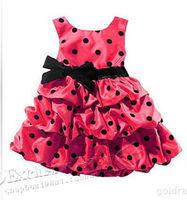 Платье для девочек Lovery Pink Polka Dot Big Bowknot Princess Dress Popular Baby and Kids dress hotsale