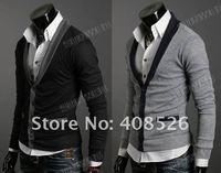 Мужская толстовка Men's Knitwear Cardigan Fake Pocket Design Slim Casual Sweater Coat M L XL Black, Gray Retail & 5450