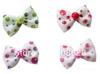 100шт/много прекрасный конфеты цвет ручной собака жемчужина бантом холить волосы луки ПЭТ волос Аксессуары