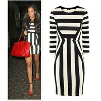 Женское платье Brand New Women Celeb Monochrome Black White Striped Celebrity Optical Illusion Party Bodycon Mini Dress V7102