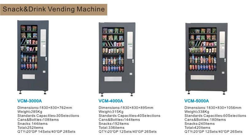 standard vending machine sizes