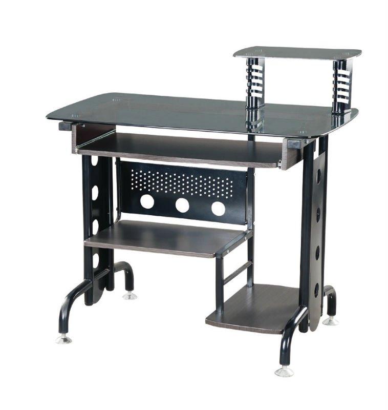 Moderne noir m tal ordinateur de bureau bureau table en for Table pour pc de bureau