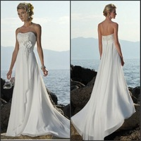Hot sale ! A-line Strapless hand flower Bead chiffon sweep train lace up white wedding dresses