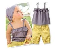 Комплект одежды для девочек Baby suit selling items/Three pieces sets: headband+vest+short pants New design