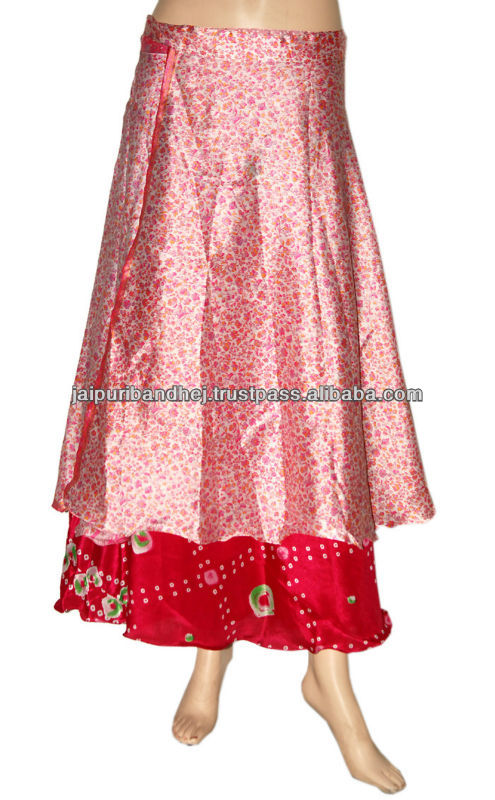 Two Layer Silk Wraparound Long Vintage Wrap Skirts