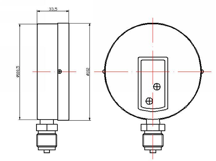 ( y-- 100) 100mm أسود صلب القضية أسفل نوع أنبوب بوردون المانومتر الضغط المنخفض