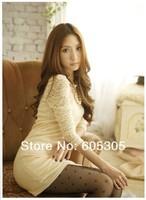 Womens dress Stylish Lace Fence openwork knit dress skirt free Shipping 7063