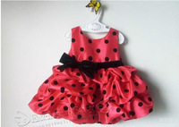 Платье для девочек Lovery Pink Polka Dot Big Bowknot Princess Dress Popular Baby and Kids dress hotsale