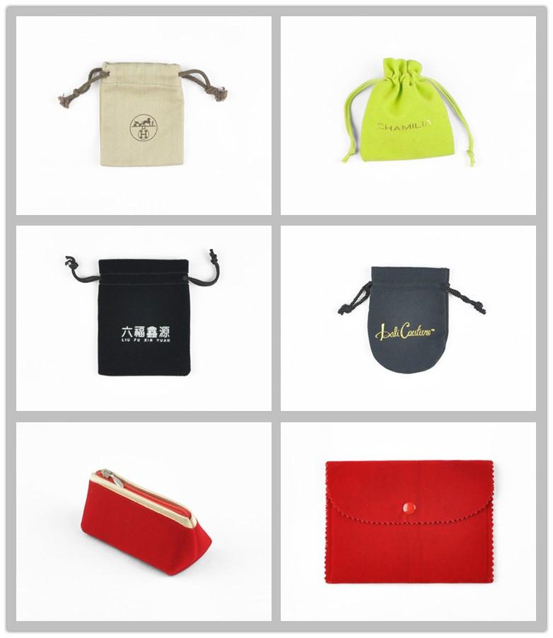 Brown custom velvet gift bag with logo for jewelry