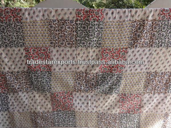Block Print kantha Quilt, Floral Pattern Cotton Comforter, Queen Size throw, Hand Block Print Fabric, Handmade Blanket