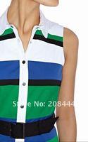 Женское платье 1piece brand new top quality cotton sleeveless dress colorblock stripes ball dress full skirt IR159