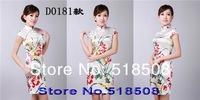 Традиционное китайское платье Sexy Traditional Chinese short Cheongsam style, Elegant Printing stamp cheongsam Ladies cheong-sam wedding dress 17 color