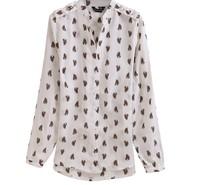 новые женской моды печатных прозрачным сексуальная Блузка женская длинный рукав рубашки шифон лошадь стоять воротник