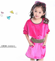 Tops for girl cotton dress with belt and bow children Princess dresses Free shoping size 110-160 clothing for girls