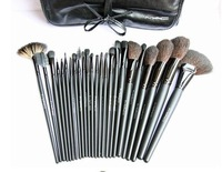 Free shipping 24Pcs Makeup Brush Cosmetic set Kit with Leather Case,makeup tools,dropshipping