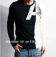 Мужская футболка 2pec/lot Fashionable O-Neck Long Sleeve 100%Cotton men's T-shirtsize s m l xl xxl