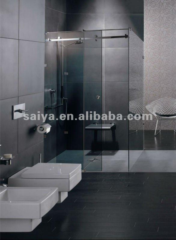 Sus304 sans cadre verre de porte coulissante de douche - Porte coulissante pour salle de bain ...